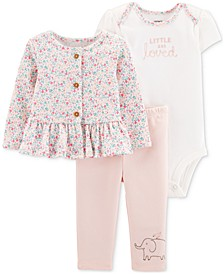 Baby Girls 3-Pc. Jacket, Bodysuit & Pants Cotton Set