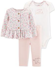 Baby Girls 3-Pc. Jacket, Bodysuit & Pants Cotton Set