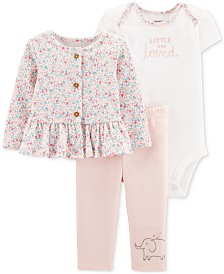 Carter's Baby Girls 3-Pc. Jacket, Bodysuit & Pants Cotton Set