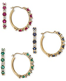 Gemstone & Diamond Accent Hoop Earring Collection