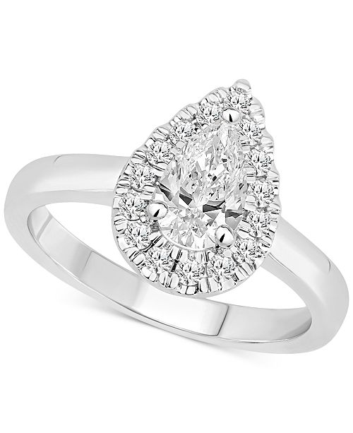 Macy's Certified Diamond Pear Halo Engagement Ring (1 ct. t.w.) in 14k White, Yellow or Rose Gold