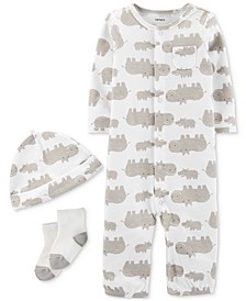 Baby Boys & Girls 3-Pc. Hippo-Print Coverall, Hat & Socks Cotton Set
