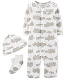 Baby Boys & Girls 3-Pc. Hippo-Print Coverall, Hat & Socks Cotton Set