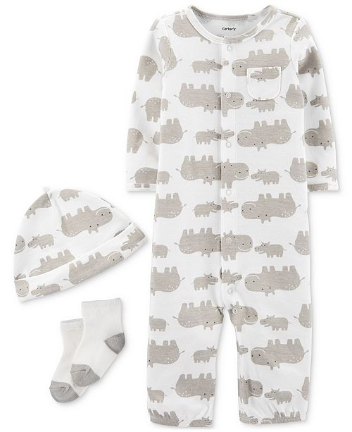 Carter's Baby Boys & Girls 3-Pc. Hippo-Print Coverall, Hat & Socks Cotton Set