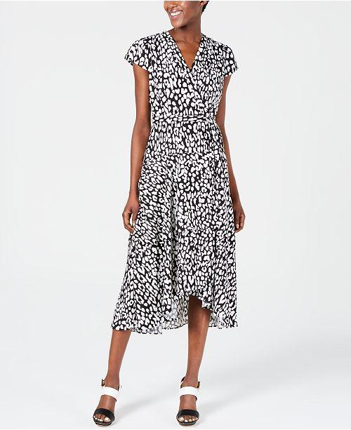 Calvin Klein Animal-Print High-Low Wrap Dress
