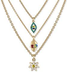 "Gold-Tone 3-Pc. Set Crystal Mystical-Motif Pendant Necklaces, 16"" + 2"" extender"