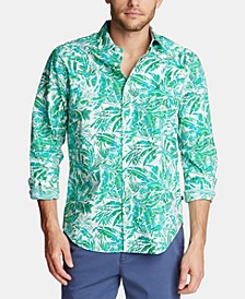 Men's Blue Sail Classic-Fit Palm-Print Poplin Shirt, Created for Macy's