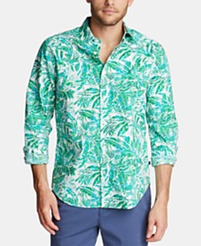 Nautica Men's Blue Sail Classic-Fit Palm-Print Poplin Shirt, Created for Macy's