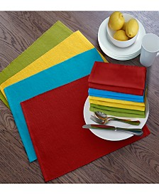 Elrene Santa Clara Solid Cotton Placemat and Napkin - Set of 16