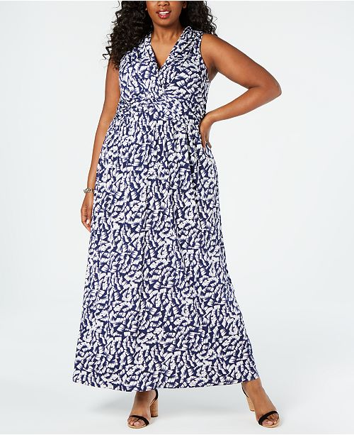 Vince Camuto Plus Size Jersey Printed Maxi Dress & Reviews ...