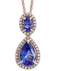 "EFFY® Tanzanite (2-1/5 ct. t.w.) & Diamond (1/5 ct. t.w.) 18"" Pendant Necklace in 14k Rose Gold"