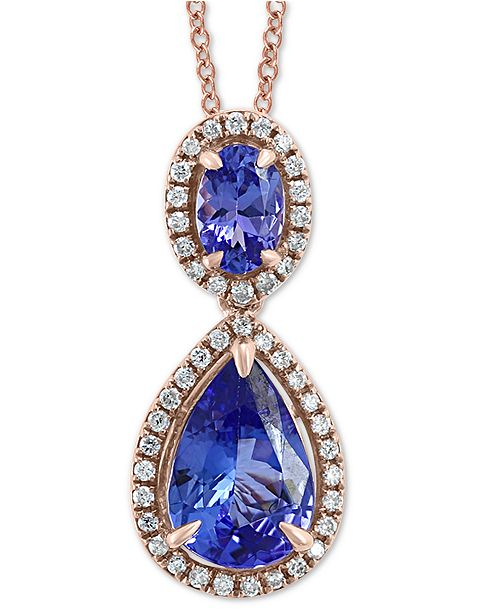 "EFFY Collection EFFY® Tanzanite (2-1/5 ct. t.w.) & Diamond (1/5 ct. t.w.) 18"" Pendant Necklace in 14k Rose Gold"