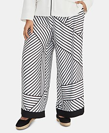 RACHEL Rachel Roy Plus Size Adalia Printed Wide-Leg Pants