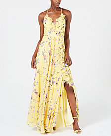 Betsy & Adam Ruffled Floral Gown