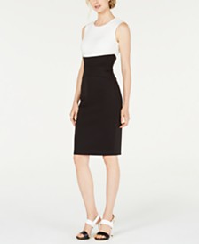 Calvin Klein Colorblocked Trapunto-Stitch Sheath Dress
