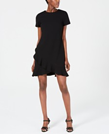 Calvin Klein Ruffled Scuba Crepe Dress