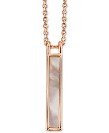 "Unwritten Mother Of Pearl Bar Pendant Necklace, 16"" + 2"" Extender"