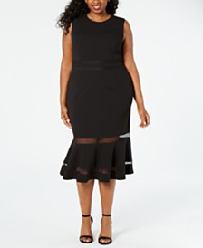 Calvin Klein Plus Size Illusion-Stripe Midi Dress
