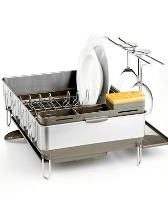 simplehuman dish rack simplehuman dish rack steel frame with wine glass holder 28909