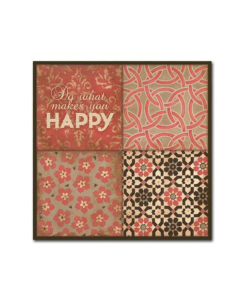 "Trademark Global Stephanie Marrott 'Happy Floral' Canvas Art - 14"" x 14"""