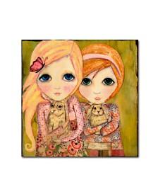 """Wyanne 'Big Eyed Girl Snuggle Bunnies' Canvas Art - 14"""" x 14"""""""