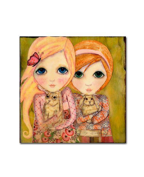 "Trademark Global Wyanne 'Big Eyed Girl Snuggle Bunnies' Canvas Art - 14"" x 14"""