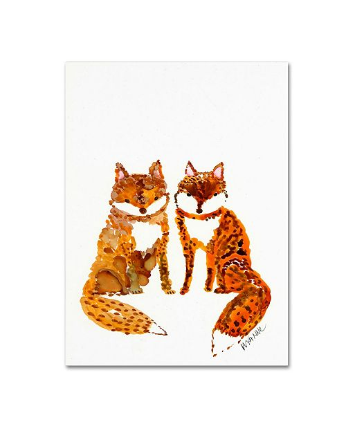 """Trademark Global Wyanne 'Two Baby Foxes' Canvas Art - 14"""" x 19"""""""