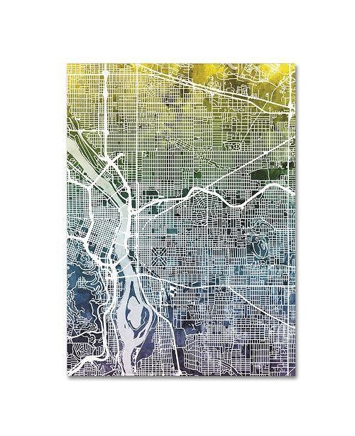 "Trademark Global Michael Tompsett 'Portland Oregon Street Map V' Canvas Art - 14"" x 19"""