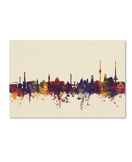 """Trademark Global Michael Tompsett 'Stuttgart Germany Skyline IV' Canvas Art - 12"""" x 19"""""""