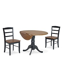 """International Concepts 42"""" Dual Drop Leaf Table With 2 Madrid Chairs"""