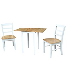 International Concepts Small Dual Drop Leaf Table With 2 Madrid Ladderback Chairs