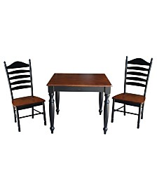 International Concepts 36X36 Dining Table With 2 Ladderback Chairs