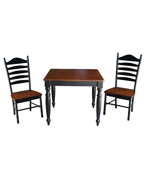WHITEWOOD INDUSTRIES/INTNL CONCEPTS International Concepts 36X36 Dining Table With 2 Ladderback Chairs
