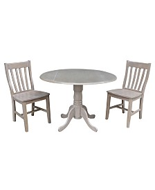 "International Concepts 42"" Dual Drop Leaf Table With 2 Schoolhouse Chairs"
