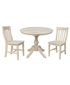 """International Concepts 36"""" Round Top Pedestal Table - With 2 Cafe Chairs"""