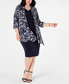 Connected Plus Size Shift Dress & Printed Jacket