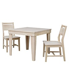 Aspen Solid Wood Top Table - Standard Dining Height - With 2 Chairs