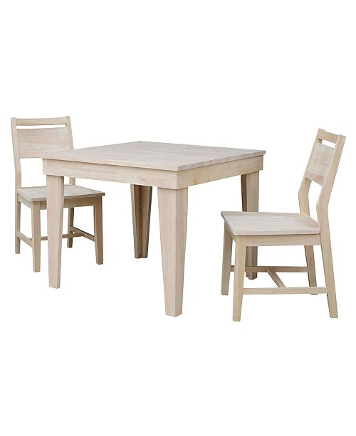 WHITEWOOD INDUSTRIES/INTNL CONCEPTS International Concepts Aspen Solid Wood Top Table - Standard Dining Height - With 2 Chairs