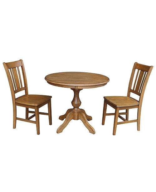 "WHITEWOOD INDUSTRIES/INTNL CONCEPTS International Concepts 36"" Round Top Pedestal Table - With 2 Chairs"