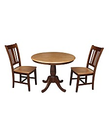 "International Concepts 36"" Round Top Pedestal Table - With 2 Chairs"