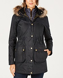 Thrunton Waxed Cotton Parka with Faux-Fur-Trim Hood