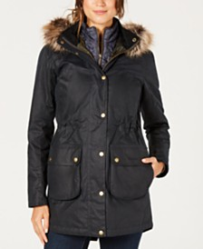 Barbour Thrunton Waxed Cotton Parka with Faux-Fur-Trim Hood