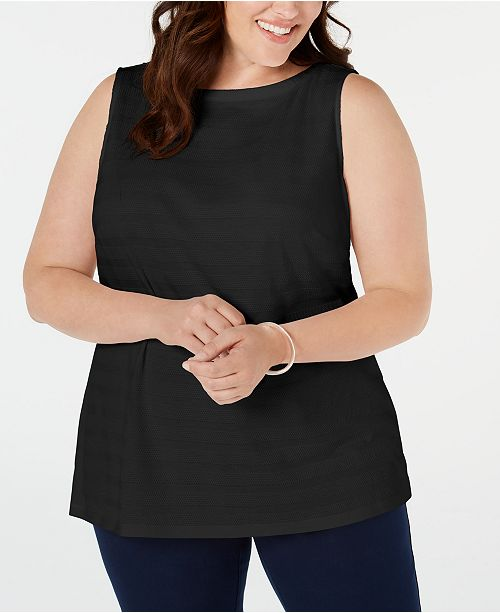 Charter Club Plus Size Cotton Textured-Stripe Boat-Neck Top, Created for Macy's