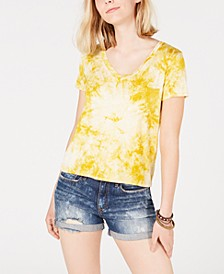 Juniors' Tie-Dyed V-Neck Top