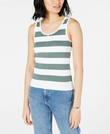 Maison Jules Ribbed Button-Front Tank Top, Created for Macy's