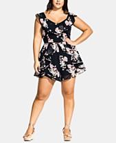 f0345ee435c1a City Chic Trendy Plus Size Floral-Print Jumpsuit