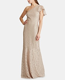 Lauren Ralph Lauren Single-Shoulder Lace Gown