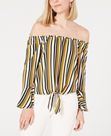 BCX Juniors' Striped Off-The-Shoulder Top