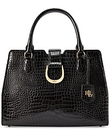 Lauren Ralph Lauren Kenton City Croc-Embossed Leather Satchel
