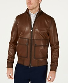 Michael Kors Men's Burnished Leather Mockneck Bomber Jacker